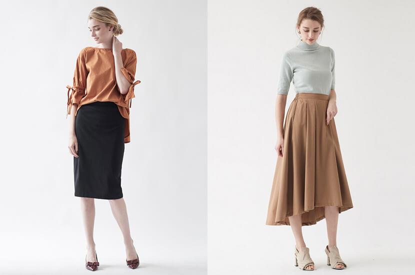 『可愛いだけじゃない』スカートをオフィスカジュアルに着こなす
